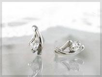 プラチナ900 ダイヤモンド合計0.04ct 小顔に見せるピアス