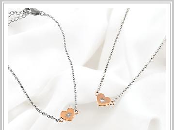 チタン ピンクIP ダイヤモンド ブレスレット/ネックレス